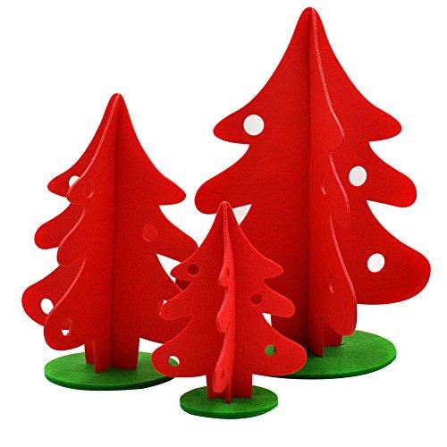 Kentop Lot DE 3 Arbre de Noël Arbre de Noël Bijoux Rouge en Matériau Non tissé 15 * 20 cm 23 * 30 cm 30 * 40 cm