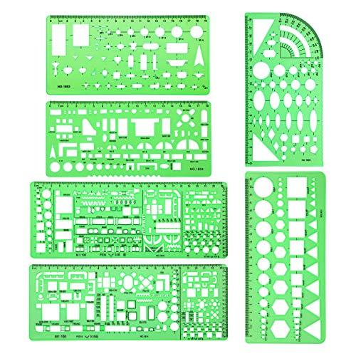 Boylee Juego de 6 plantillas de dibujo multiusos para arquitecto, diseño de interiores y herramientas de dibujo de muebles, regla, 6 unidades, para arquitectura multiuso
