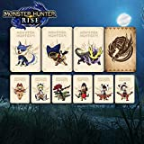 9PCS for Monster Hunter Rise NFC Amiibo Mini Card with Crystal case. Include: Palamute, Palico, Magnamalo. Compatible Switch, Switch Lite. Third Party Card.
