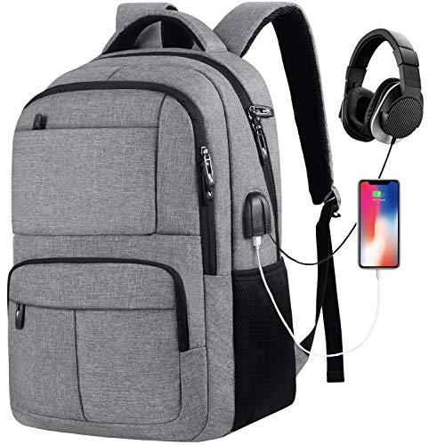 Laptop Rucksack Schulrucksack mit USB-Ladeanschluss für Herren und Damen,Wasserdicht,35L-40L (GJA26-Grau)