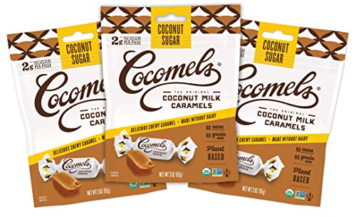 Cocomels Coconut Milk Caramels With Coconut Sugar, Organic Candy, Dairy Free, Sugar Free, Vegan, Gluten Free, Non-GMO, No Cane Sugar, No High Fructose Corn Syrup, Kosher, Plant Based, (3 Pack)