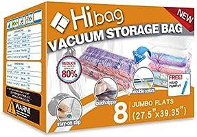 HIBAG Vacuum Storage Bags, Space Saver Bags, Pack of 8