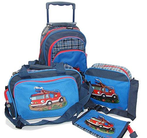 STEFANO Kinder Reisegepäck Feuerwehr blau oder Girls pink (M1 4tlg. Set)