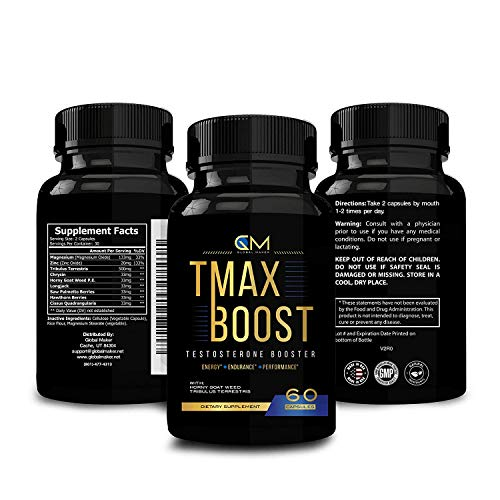 Testosterone Booster for Men - Tribulus & Saw Palmetto Supplement - Stamina Strength Endurance - Ultra Boost Performance - Fast Recovery & Burner Capsules – TMAX Boost (60 Capsules)