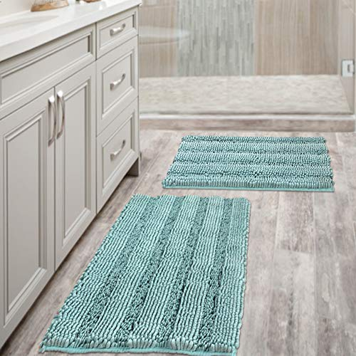 "Non Slip Thick Shaggy Chenille Bathroom Rugs, Bath Mats for Bathroom Extra Soft and Absorbent - Striped Bath Rugs Set for Indoor/Kitchen (Set of 2 - 20"" x 32""/17"" x 24"") Eggshell Blue"
