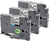 MarkField Compatible Cinta de etiquetas Reemplazo para Brother P-touch TZ TZe-131 Transparente 12mm x 8m, para PT-1005 1080 H105 H101C H100LB/R E100 D200 D400, 3 Pack Clear