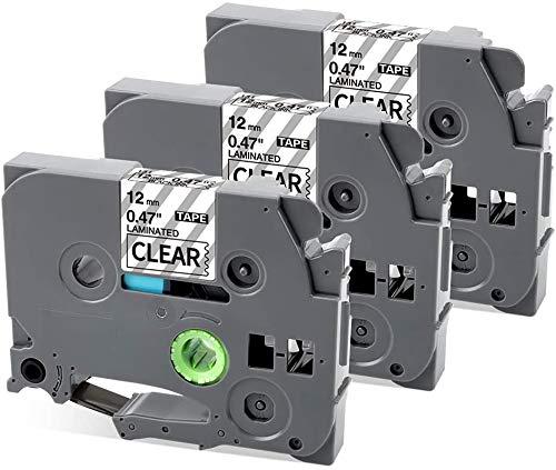 MarkField Kompatible Laminiert Schriftband als Ersatz für Brother P-touch TZ TZe-131 Transparent 12mm x 8m Etikettenband für PT-1005 1080 PT-H105 H101C H100LB/R E100 D200, 5 Pack Clear