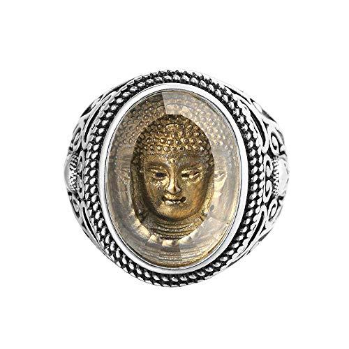 Purmy Ring Buddha Kopf Edelstahl Ringe Vintage,Hip Hop Punk Schmuck zum Herren oder Damen Größe 65 (20.7)