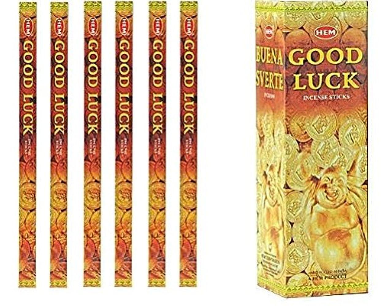 主人グラフ発音インドHem Good Luck Incense 6パックX 8スティック、Wicca Pagan 8?Grm正方形ボックス