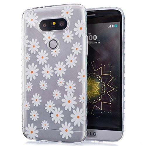 Custodia LG G5,Cover LG G5,Colore Pittura in sollievo Cover Custodia Gel Morbida Silicone Sottile TPU Protettiva Resistente Ai Graffi Case Cover per LG G5,Cover LG G5,Fiori della margherita bianca
