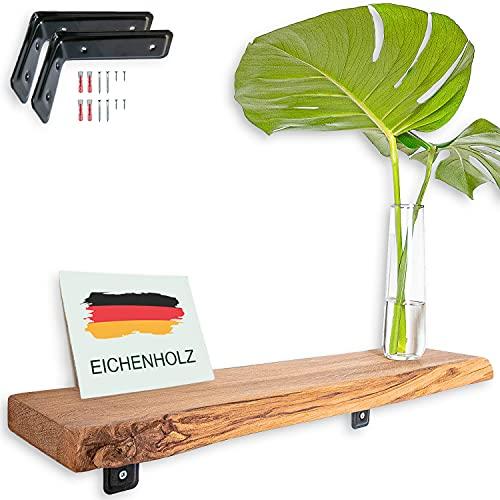 VILLANORD® Estantería de pared de roble alemán, rústico, con borde de árbol (70 cm), madera maciza