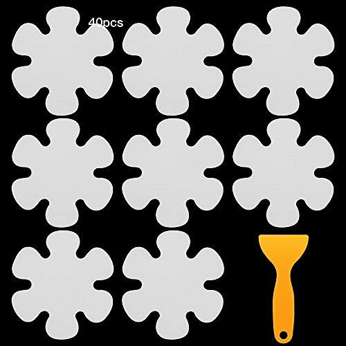 DXLing 40 Pezzi Adesivo Antiscivolo per Doccia e Vasca Adesivi per Vasca Antiscivolo a Forma di Fiore Trasparente Sticker Antiscivolo Doccia con Raschietto in Plastica per Scala Bagno Doccia Cucina