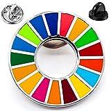 SDGs バッジ ピンバッチ バッヂ 国連 17色 高級 人気 ピンバッジ 公式 襟章 留め具 最新仕様