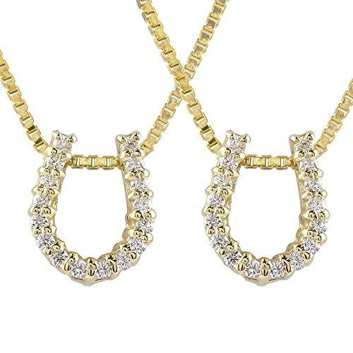 [アトラス] Atrus ネックレス メンズ ペア 18金 イエローゴールドk18 馬蹄 ダイヤモンド ペンダント トップ チェーン(sv925イエローメッキ)