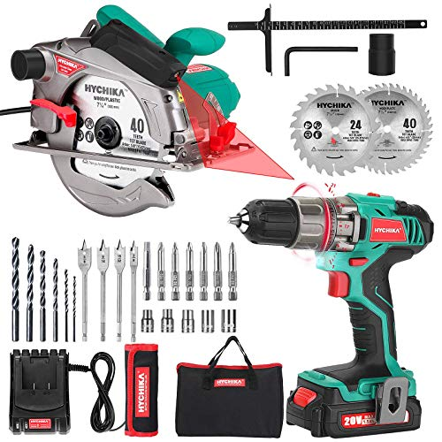 Cordless Drill Driver 20V Power Drill Set and Circular Saw 12.5A Electric Saw with Fixed Speed 5500RPM
