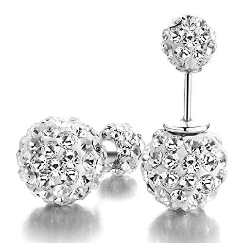 Kim Johanson 1 Paar Damen Kristall Disco Shamballa Kugel 925 Sterling Silber Ohrringe Ohrstecker inkl. Geschenkverpackung