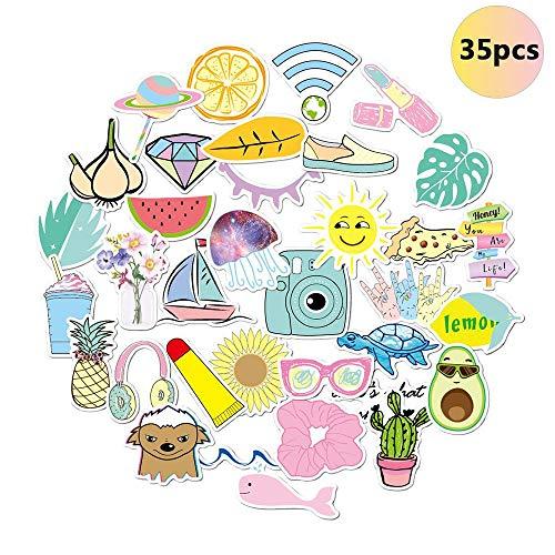 LAYOPO 35 stuks mooie waterflessen stickers voor meisjes, waterdichte duurzaam vinyl stickers voor laptop, roze prachtige trendy esthetische stickers aftrekplaatjes voor telefoon skateboard bagage