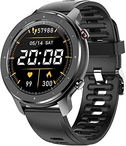 YQCH Smart Watch para teléfonos Android con Altavoz Bluetooth Tracker Rastreador cardíaco Monitor de sueño Pedómetro Reloj de Pulsera para Hombres Reproductor de música Black Paso Contador Relojes