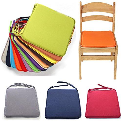 Galette de chaise solide et carrée - 40 cm x 40 cm - Pour salle à manger, jardin, maison, bureau, cuisine free size Orange