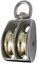 Metal Alloy Swivel Double Wheel Rope Pulley Single Pack - 1 1/2 Inche Sheave Height - Fits 5/16 Inch Rope - for Hoisting, Hanging, and Maneuvering