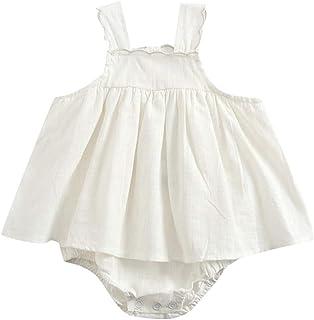 202dc8320922 NUWFOR Toddler Infant Baby Girl Kids Sleeveless Strap Solid Romper Dress  Clothing