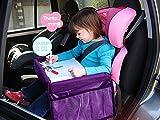 MuStone Bandeja de viaje para niños Snack para niños, Bandeja de viaje a prueba de agua para niños Asientos de coche para bebés Jugar Aprender Tren Travesía Bandeja de viaje (púrpura)