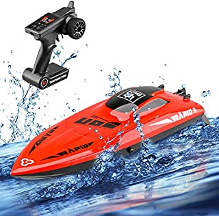 STOTOY Remote Control Boat for Kids/Adults,High Speed Electronic RC Racing Boat for Lakes-Red