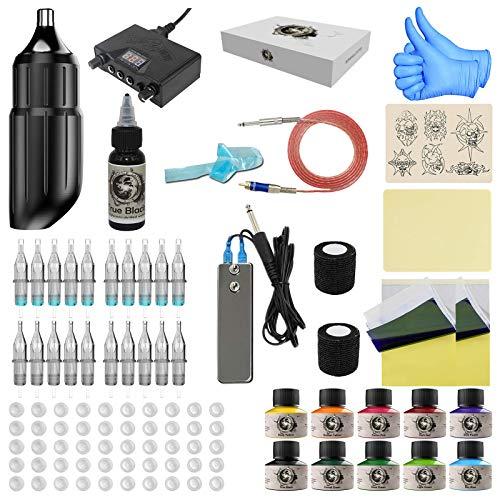 Wormhole Tattoo Pen Kit, Cartridge Tattoo Machine Kit for Beginners Rotary Tattoo Machine Pen Professional Complete Tattoo Kit Black