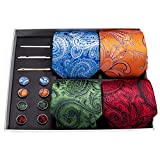 Barry.Wang Paisley Tie Set Orange/Blue/Red/Green Neckties for Men Tie Clip Hanky Cufflink