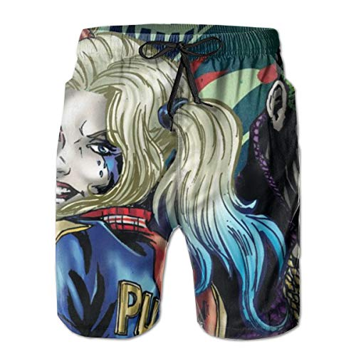 Cargo Short for Men, Half Pants Full Elastic Waist Regular & Extended Sizes Beachwear for Beach Outdoor Hiking, Harley & The Joker Shorts, Fast Dry/Washed