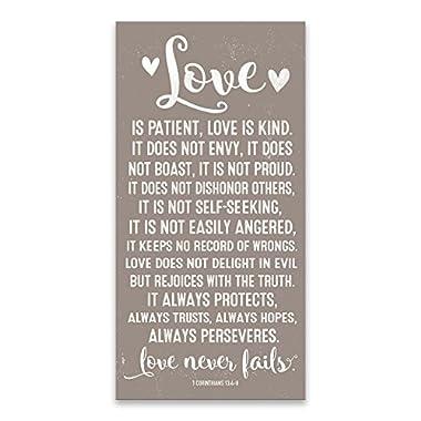 Love Never Fails 1 Corinthians 13:4-8 Typography Printed Canvas 16W x 32H x 1.5D