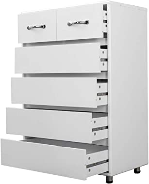 6 Drawers Dressers RASOO Chest of Drawer Bedroom Cabinet Tall Storage Nightstand Sidetable for Living Room (6 Drawers, White)