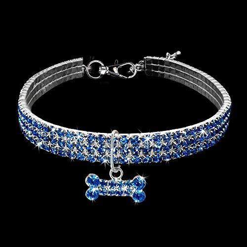 MMWW Kristal elastische lijn sectie bot hangerhuisdier ketting dierbenodigdheden huisdier kraag halsbandendog tag-Blue_30cm