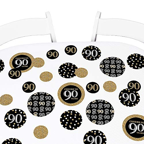 Adult 90th Birthday - Gold - Birthday Party Giant Circle Confetti - Party Decorations - Large Confetti 27 Count