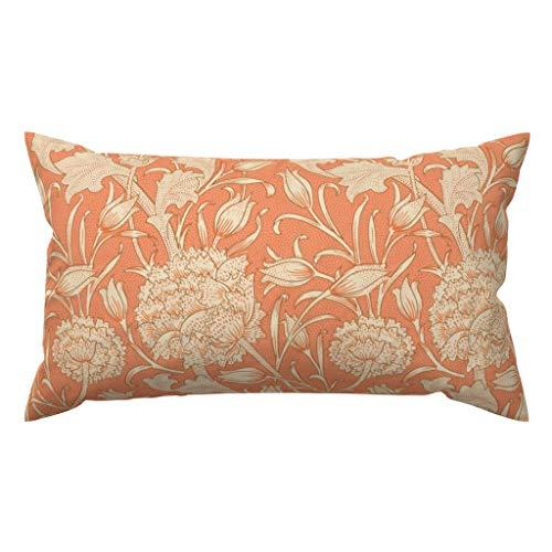 Meg121ace Vintage Style Accent Pillow - Morris Wild Tulip Orange Home Decor peacoquettedesigns - Terracotta Rectangle Lumbar Throw Pillowcase Cushion Cover Gift
