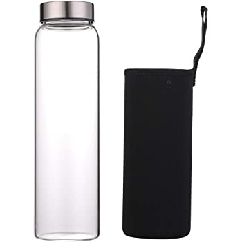 Clear 20 oz Snake Juice Glass Water Bottle with Metal lid