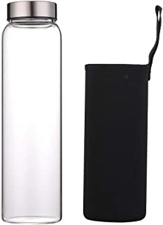 Sunkey Glass Water Bottle 32 oz High Borosilicate with Neoprene Sleeve Leak Proof Lid Reusable Eco Friendly Bpa Free