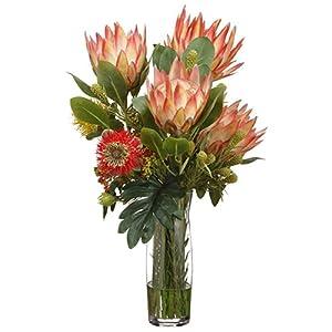 26″ Hx17 W Protea & Leucospermum Silk Flower Arrangement -Orange/Green
