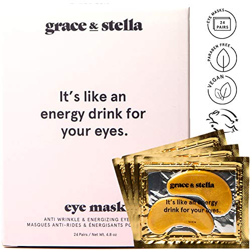 51r7hkX9NZL - Grace & Stella Collagen Eye Masks 24K Gold Hydrogel Anti-Aging Under Eye Patches, Treatment for Puffy Eye Bags, Dark Circle Wrinkles Pads, Improve Elasticity Elimiate Tiredness Puffiness (12 Pairs)