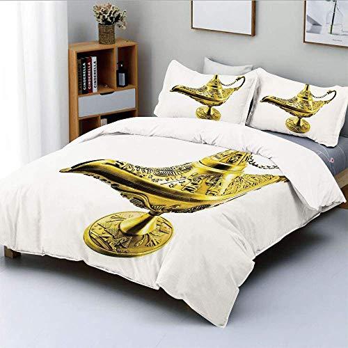 Juego de funda nórdica, lámpara de genio mágico de Aladdin Wish Mystery Magic Wonder Adventure Story inspirado en el arte Juego de ropa de cama de 3 piezas decorativas con 2 fundas de almohada, blanco