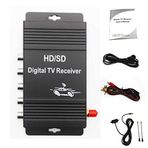 IOKONE Vechicle TV Tuner Digital TV Receiver Digital HD ATSC TV Tuner 4 Video Output for Air Antenna TV Channels for United States Canada Mexico