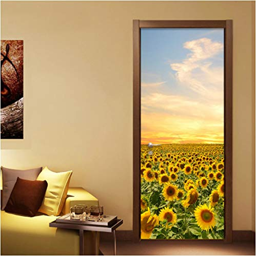 ZPCR Photo Wallpaper Beautiful Sunflower 3D Wall Mural Bedroom Living Room Door Decor Sticker PVC Eco-Friendly Wall Papers Home Decor