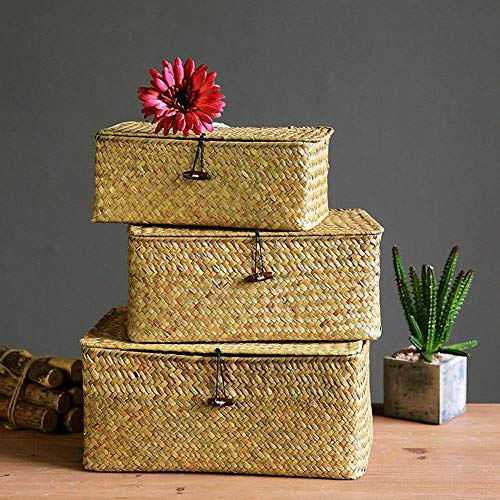 YSGLIFE Set mit 3 Seegras Gewebt Rattan Rechteckiger Ablagekorb Aufbewahrungsbox mit Deckel Mehrzweck-Organizer-Boxen für Kleidung, Make-up, Bücher und Regale (Natürlich, Klein/Mittel/Groß)