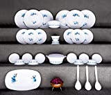 Holyfad Dinner Set Plastic Exclusive and Microwave Safe, Printed Round Flourish Dinner Set of 32 Pieces(6 Big PLATS, 6 Small PLATS, 12 Small Bowl, 2 Big Bowl with 2 LID, 1 Tray, 3 Big Spoon)