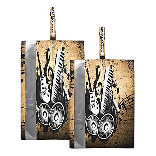Hunihuni Bolsa de viaje para zapatos de música, guitarra, impermeable, portátil, organizador de zapatos con cremallera, 2 unidades