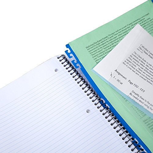 """Five Star Advance Spiral Notebook, 3 Subject, College Ruled Paper, 150 Sheets, 11"""" x 8-1/2"""", Blue (73138) Photo #6"""