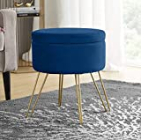 Ornavo Home Modern Round Velvet Storage Ottoman Foot Rest Stool/Seat with Gold Metal Legs & Tray Top Coffee Table - Navy