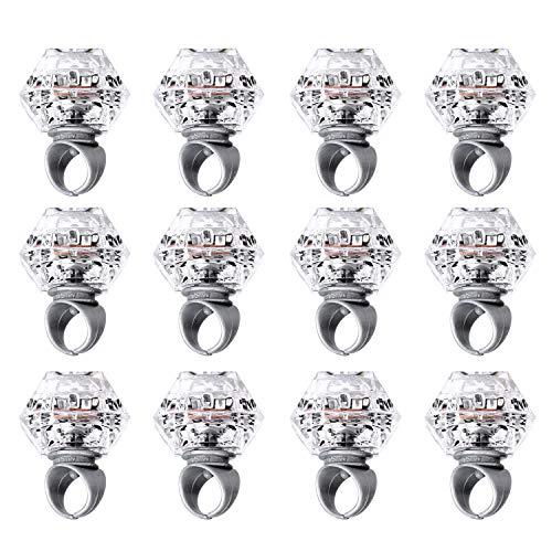 Konsait Anillo Luminoso LED Glow Diamantes Juguetes Anillo De Goma Accesorios para Fiestas cumpleaños Boda Decoracion Despedida de Soltera Accesorios Amigas Juegos