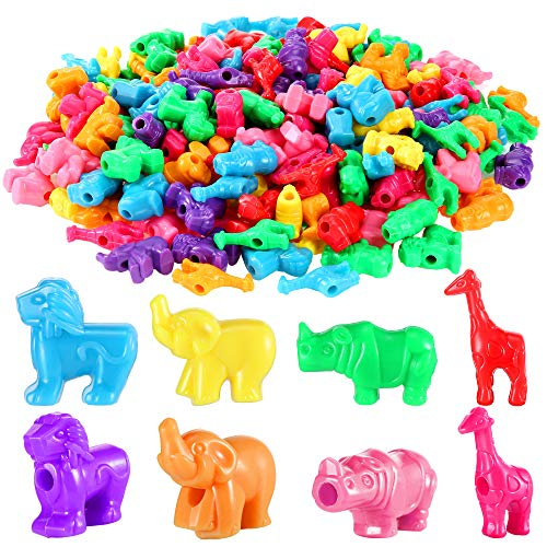 Animal Shaped Beads Zoo Animal Bead Charms Plastic Colorful Craft Beads 0.66 Pounds with Various Animal Design for Kids DIY Jewelry Craft Making Necklace Bracelet Supplies, About 180 Pieces