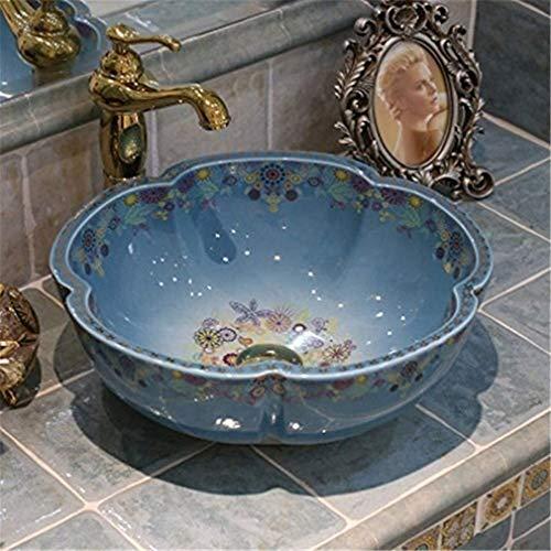 WONS Bad Waschbecken, Kunst Einbauwaschtisch Keramik Waschbecken Haus Balkon Waschbecken Haus Dekoration/Blau/A